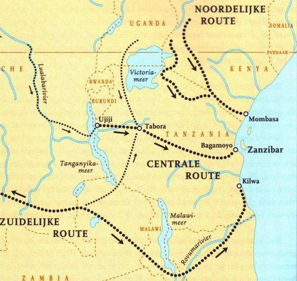 Map of Ivory Trade Routes in Africa