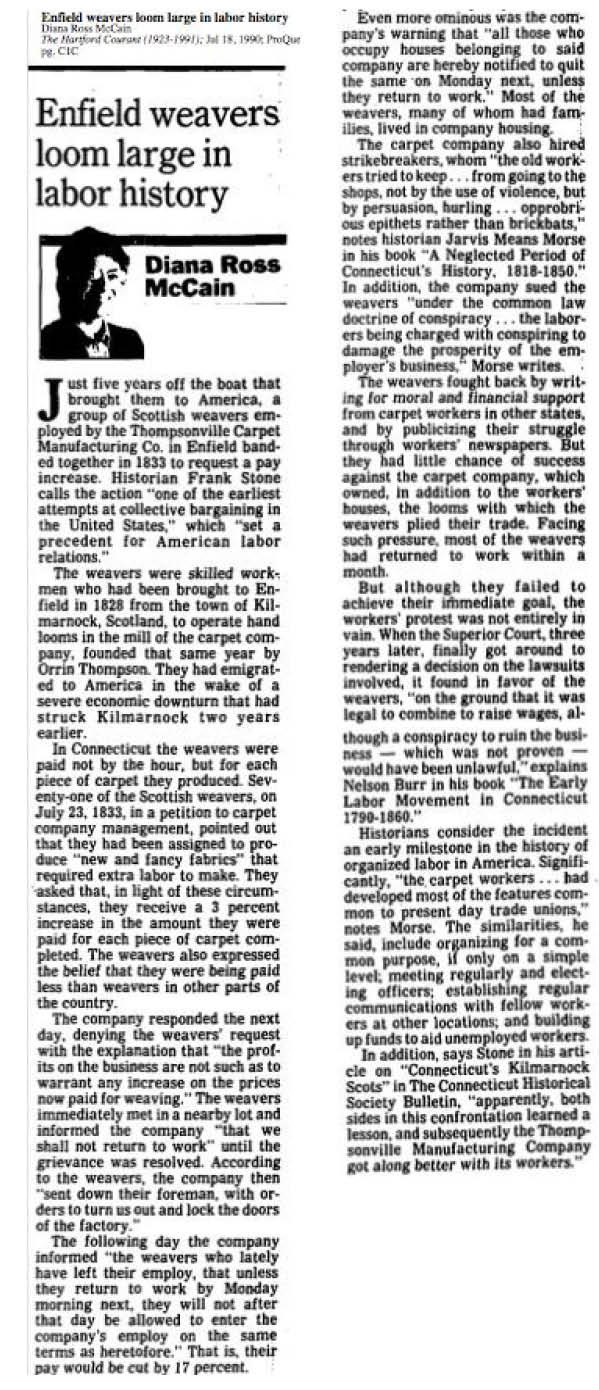 Article from the Hartford Courant about the Thompsonville carpet weavers strike of 1833. Written by Diana Ross McCain. Published July 18, 1990