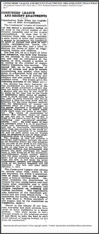 Consumers' League and Recent Enactments: Organization Tells What the Legislature of 1913 Accomplished, Hartford Courant, September 17, 1913, p. 5.