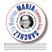 Digital I Voted Sticker with image and text of Maria Clemencia Colón Sanchez