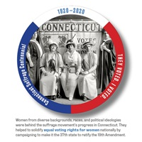 Digital I Voted Sticker with image and text of diverse group of Connecticut Suffragists
