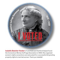 Digital I Voted Sticker with image and text of Isabella Beecher Hooker