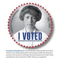 Digital I Voted Sticker with image and text of Josephine Day Bennett