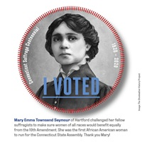 Digital I Voted Sticker with image and text of Mary Emma Townsend Seymour