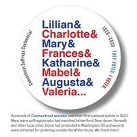 Digital I Voted Sticker with stylized names of Connecticut Suffragists