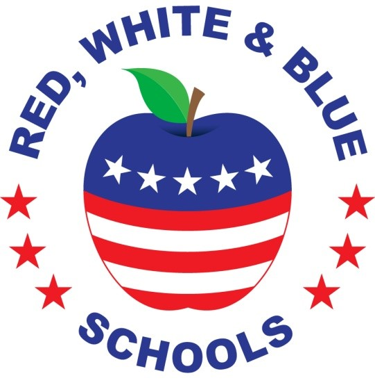 Red, White and Blue Schools logo