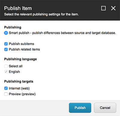 Dialog Box - Publish Item
