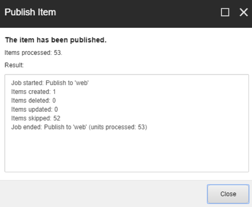 Dialog Box - Publish Complete