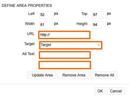 Define the Image Map Properties for each coordinate