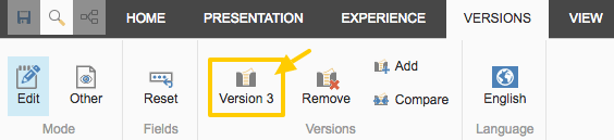 Identifying the page version from the Experience Editor Versions tab