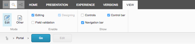 Experience Editor Ribbon View tab with Navigation Bar