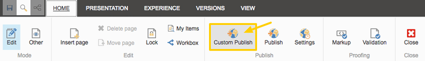 Experience Editor Ribbon: Publish icon