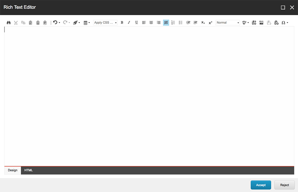Text Editor screen