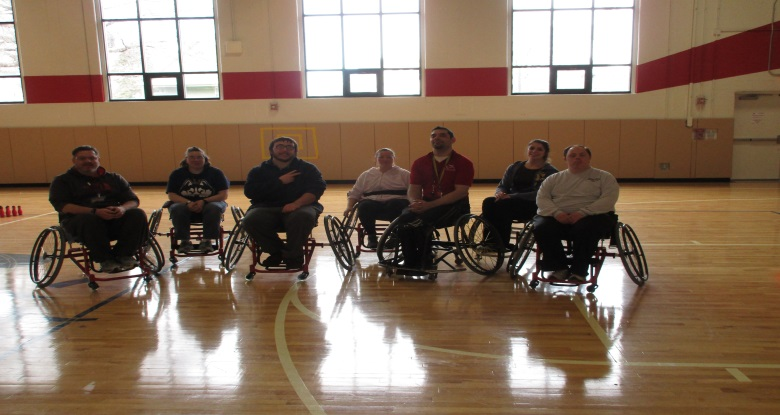 Playing basketball in fitness wheelchairs