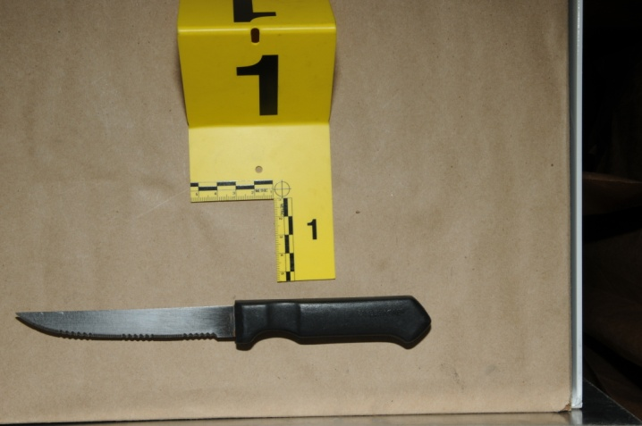 Close-up view of the knife recovered from the scene.