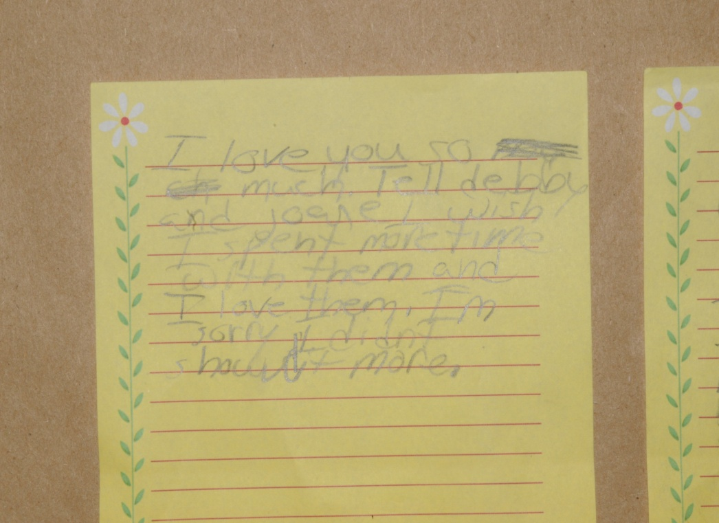 The note recovered from Mr. Reyes home
