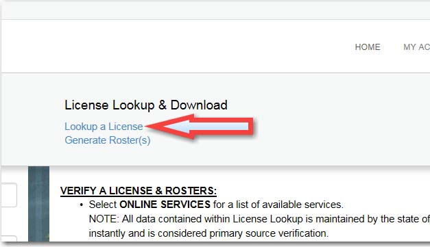 verify a license - instructions