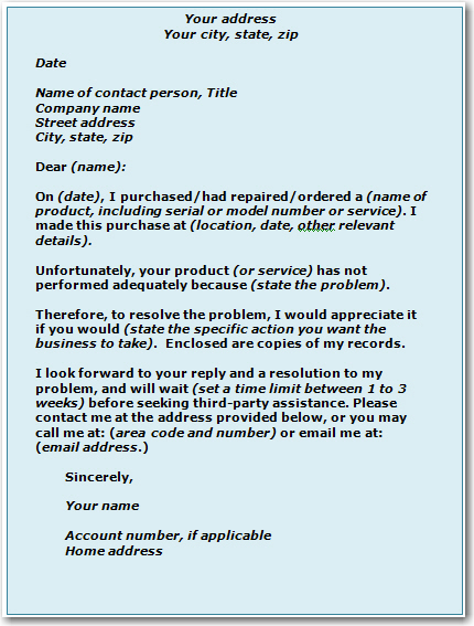 Beautiful SAMPLE COMPLAINT LETTER TO BUSINESS Throughout Complaint Letters To Companies