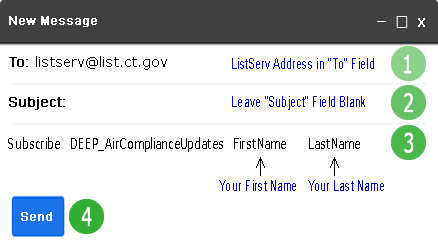 Image of a subscription email for DEEP Air Compliance Updates Listserv