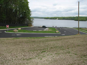 An aerial view of the Gardner Lake boat launch.
