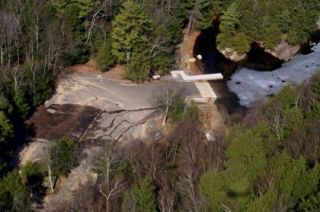 An aerial view of the Mashapaug Lake boat launch.