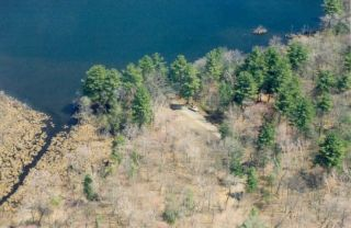 An aerial view of the Mohawk Pond boat launch.