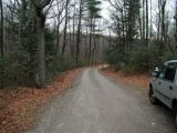 The access road to the Morey Pond boat launch.