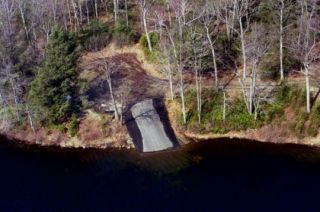 An aerial view of the Morey Pond boat launch.