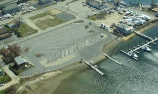 An aerial view of the Niantic River boat launch.