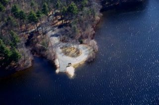 An aerial view of the Quaddick Reservoir boat launch.