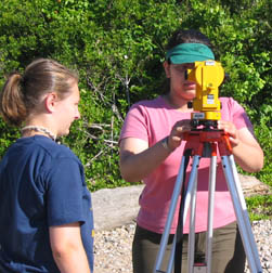 Students using land surveying equipment.