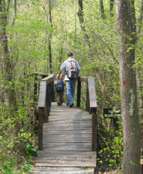 Hikers on a state trail bridge