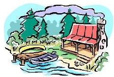 Sketch of a cabin in the woods by a lake with a dock and two small boats.