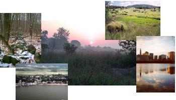 Photo collage of scenes from Connecticut's landscape including Hartford skyline, fields, and shoreline development.