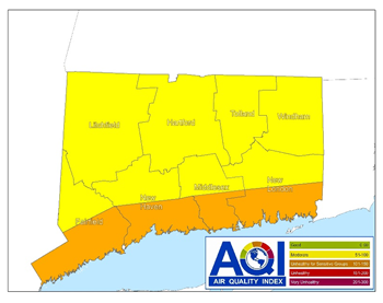 map of southern connecticut Air Quality Alert Deep Forecasts Elevated Levels Of Ozone For map of southern connecticut