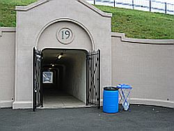 Yale Bowl Entrance with Trash and Recycling Bins
