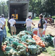 Volunteers for Foodshare, Hartford and Tolland County's food bank, gleaning on a Connecticut farm.