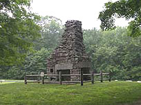 Photograph of historic chimney in Natchaug State Forest
