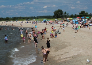 Beachgoers at Hammonasset Beach State Park