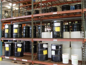 Photograph of a hazardous waste drum storage area