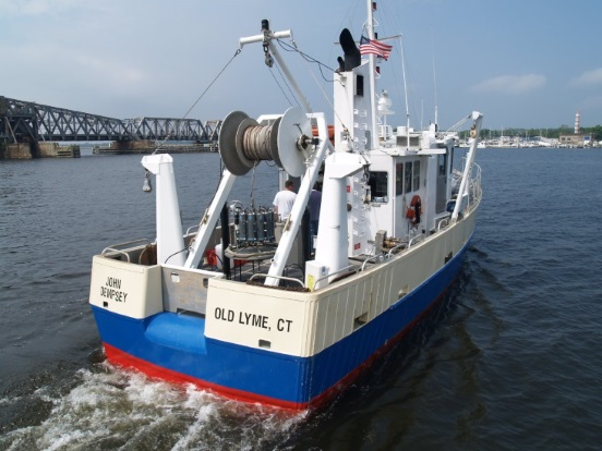 Photograph of the CT DEEP Long Island Sound monitoring vessel, The John Dempsey