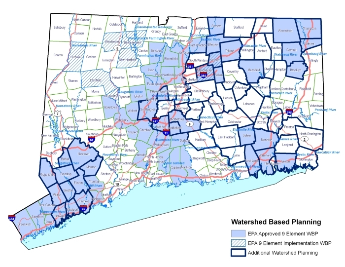 map showing towns with watershed based plans shaded