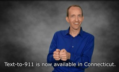 Text-to-911 is now available in Connecticut. Screenshot of video.