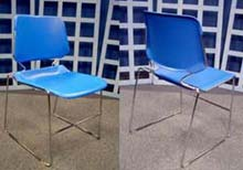 Dakota High Density Polypropylene Stacking Chair with Gang Glides, Cobalt Blue