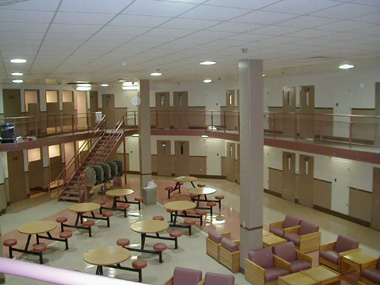 A housing unit in a high-security correctional facility.