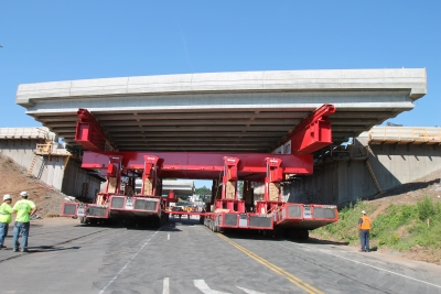 New I-84 bridge being moved on SPMTs.  Photo by ConnDOT.