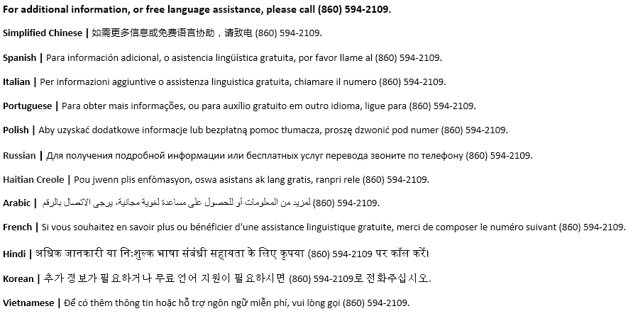 Image of language assistance information. For information in other languages call 860-594-2109