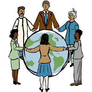 People standing in a circle holding hands with a globe in the middle