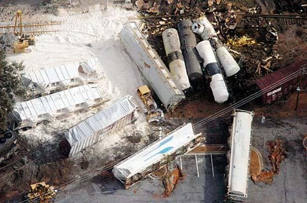 Image of train derailment in Graniteville, SC where dangerous levels of chlorine were released