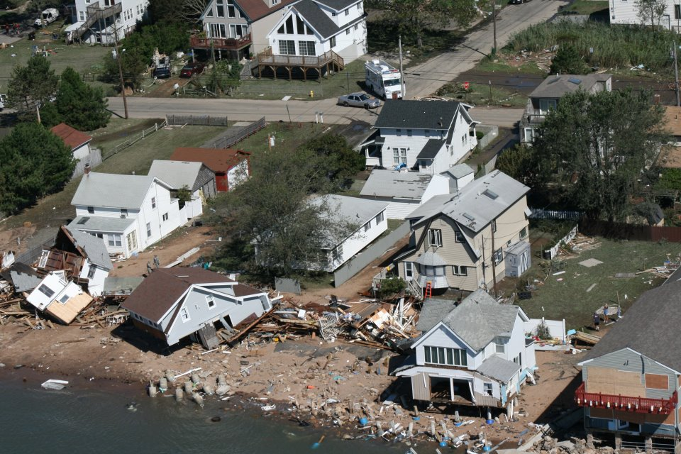 Damage to homes along Connecticut shoreline from Tropical Storm Irene (2011)